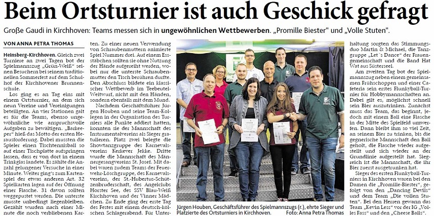 Sommerfest 2016 (Artikel Heinsberger Zeitung)
