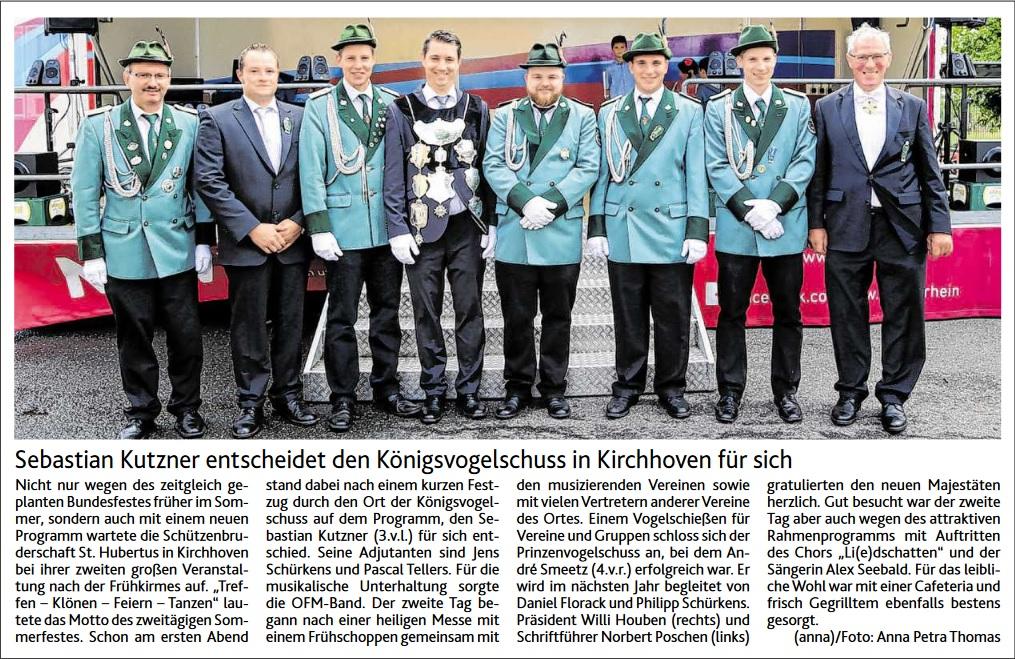 Sebastian Kutzner entscheidet den Königsvogelschuss in Kirchhoven für sich