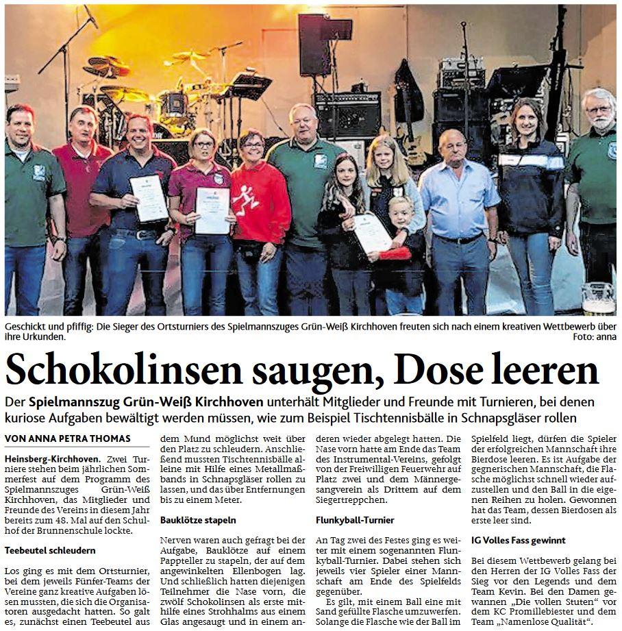 Sommerfest 2017 (Artikel Heinsberger Zeitung vom 11.08.2017)