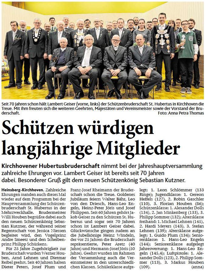 Schützen würdigen langjährige Mitglieder – Artikel AZ vom 20.01.2018